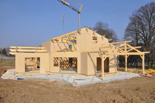 La chantier d'une maison bois BBC
