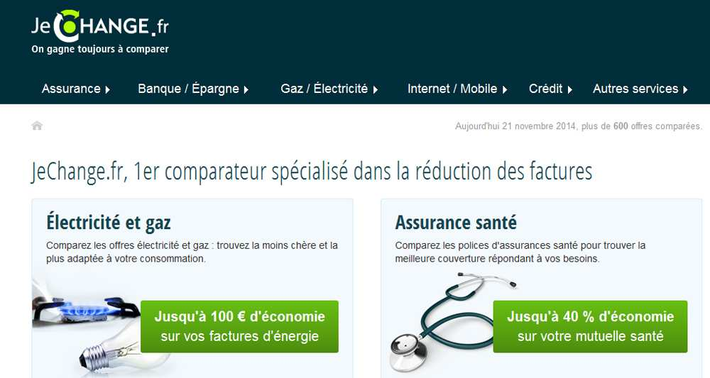 JeChange.fr, 1e comparateur sp233;cialis233; dans la r233;duction des factures