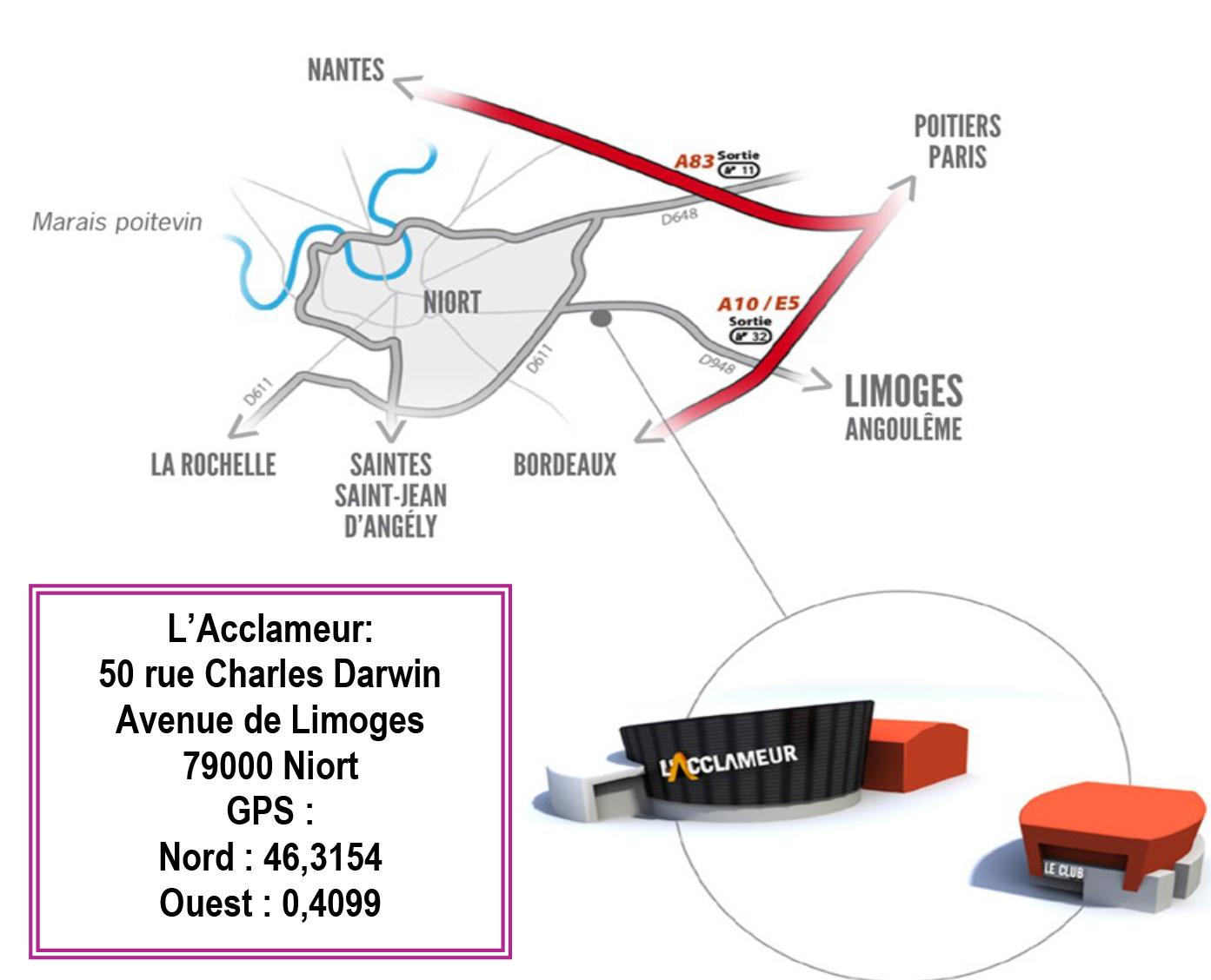 """Plan d'accès à l'Acclameur """"le Club"""" à Niort"""