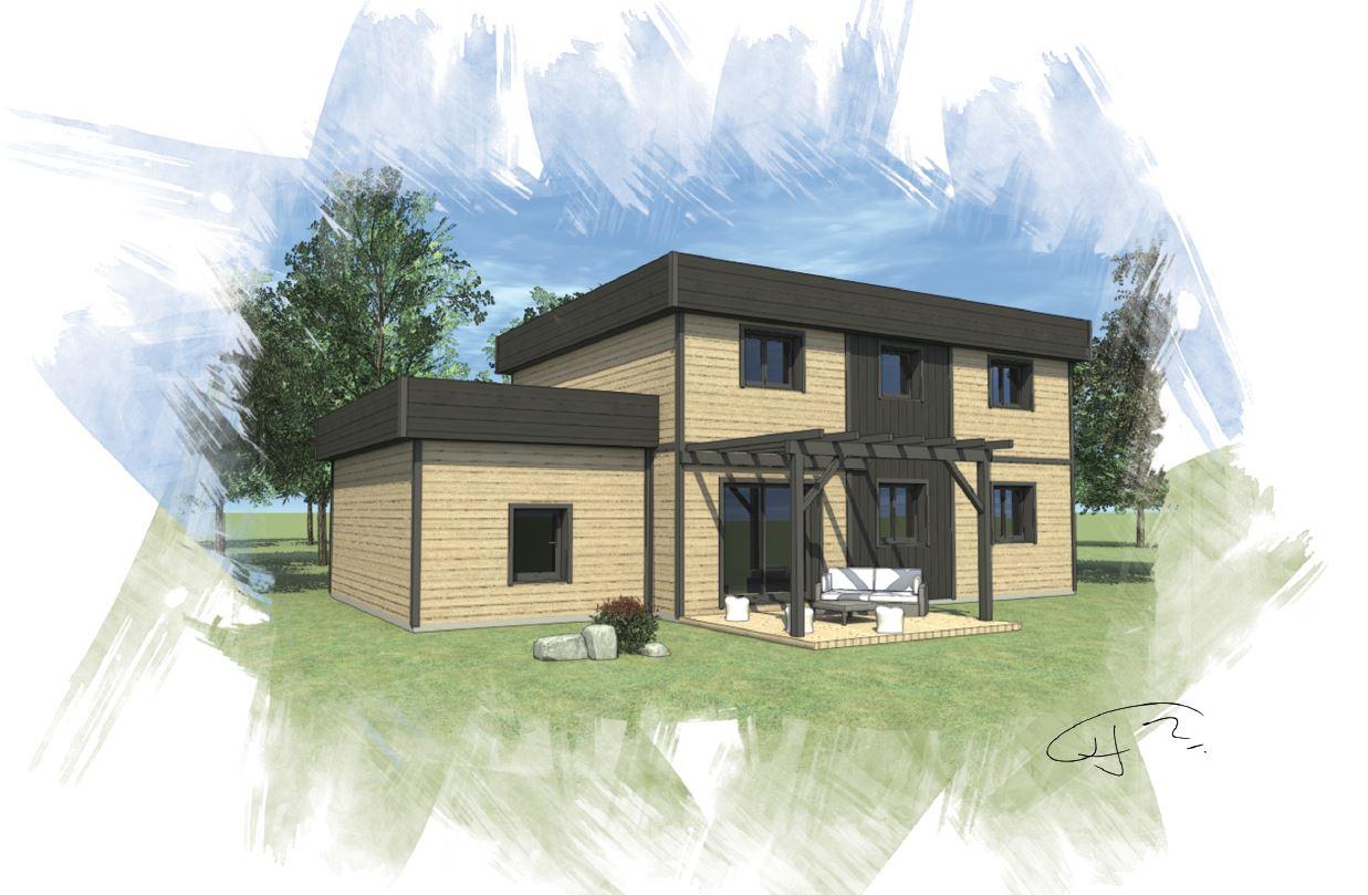 OSSA Kit - maison bois mod232;le 140m178;