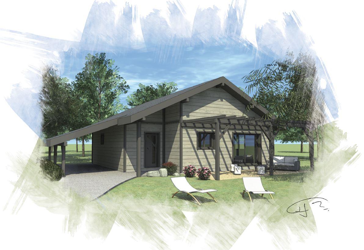OSSA Kit -maison bois mod232;le 80m178;