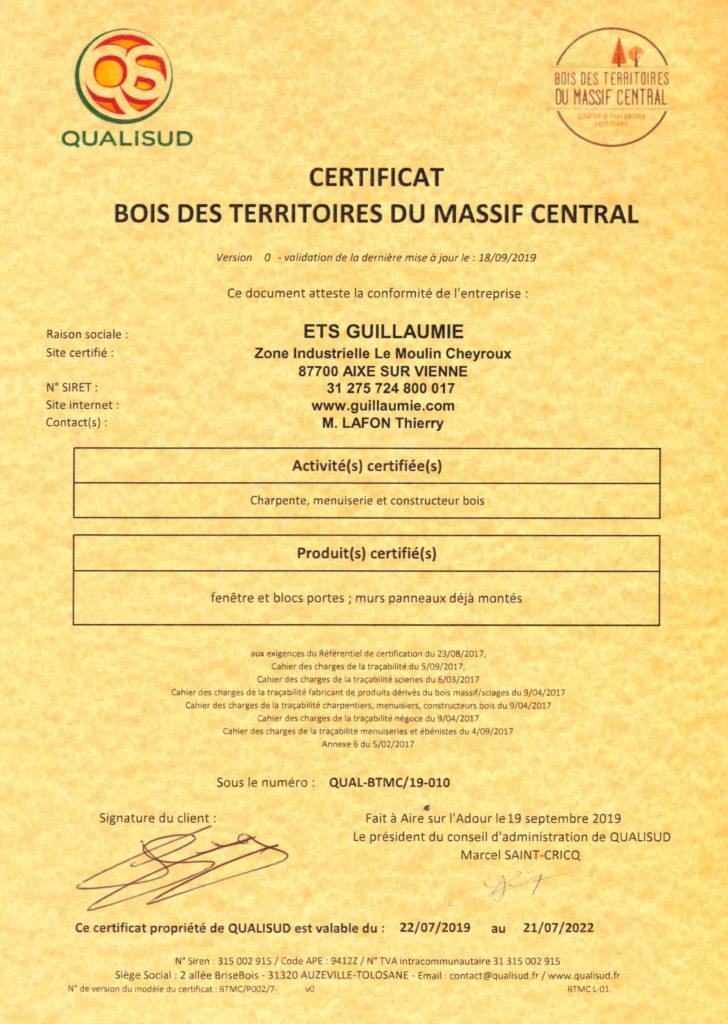 Certification guillaumie construction bois